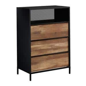 Boulevard Cafe 3-Drawer Black with Vintage Oak accents Chest of Drawers 42 in.H x 29 in.W x 17 in.D