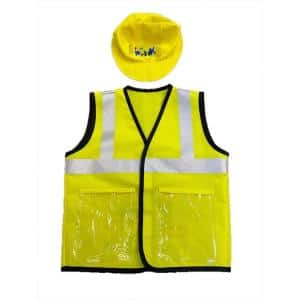 Busy Builders Construction Vest and Hat for Age 4-Years to 12-Years - Kids Construction Worker Costume