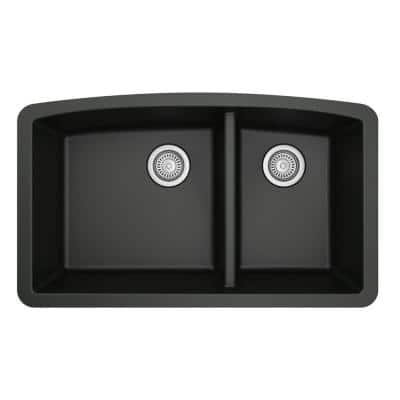 Undermount Quartz Composite 32 in. 60/40 Double Bowl Kitchen Sink in Black