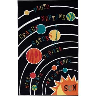 Solar System Black 4 ft. x 5 ft. Machine Washable Contemporary Area Rug