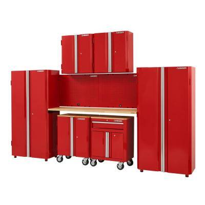 8-Piece Ready-to-Assemble Steel Garage Storage System in Red (133 in. W x 98 in. H x 24 in. D )