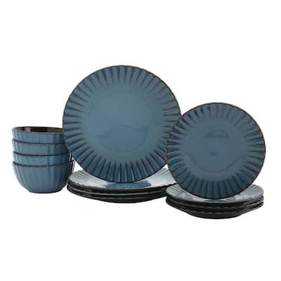 Juliette 12-Piece Azul Ceramic Dinnerware Set (Service for 4)