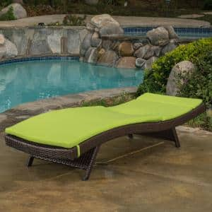 Miller Multi-Brown Armless Wicker Outdoor Chaise Lounge with Bright Green Cushion