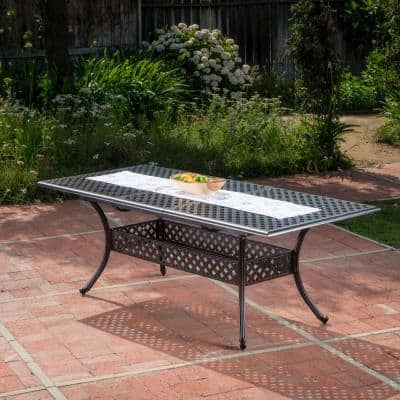 Zahra Rectangular Cast Aluminum Outdoor Dining Table with Extension