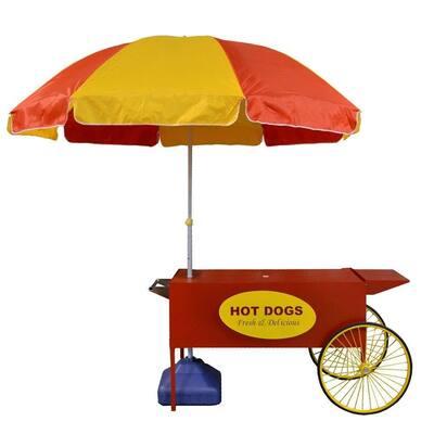 Large Hot Dog Cart and Umbrella Stand