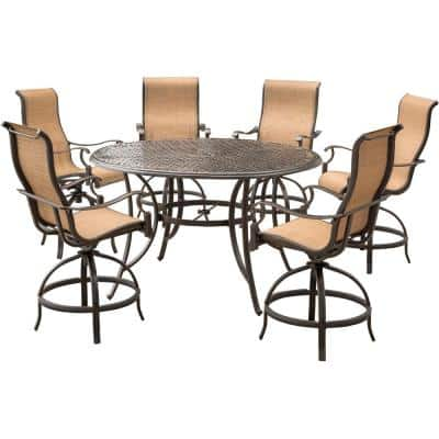 Somerset 7-Piece Aluminum Round Outdoor Bar-Height Dining Set with Swivels and Cast-Top Table