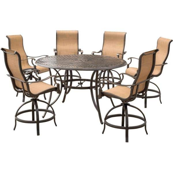 Agio Somerset 7 Piece Aluminum Round, Outdoor Bar Top Dining Table