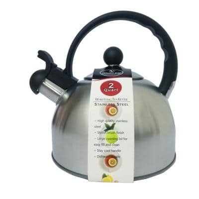 8-Cup Stainless Steel 2.0 Qt. Whistling Tea Kettle in Brush