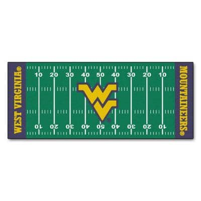 West Virginia University 3 ft. x 6 ft. Football Field Rug Runner Rug