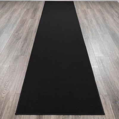 Ottohome Collection Carpet Solid Hallway Wedding Aisle Black Design 3 ft. x 12 ft. Non-Slip Runner Rug