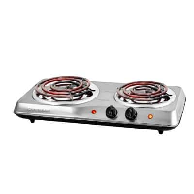 2-Burner 5.7 and 6 in. Stainless Steel Silver Hot Plate Burner
