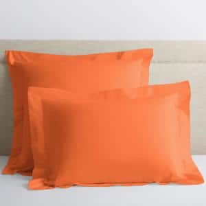 Classic Tangerine Solid 210-Thread Count Cotton Percale Standard Sham