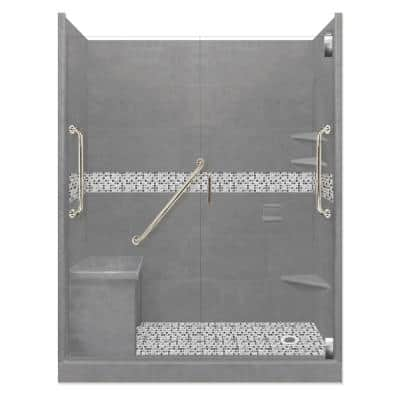 Del Mar Freedom Grand Hinged 32 in. x 60 in. x 80 in. Right Drain Alcove Shower Kit in Wet Cement and Satin Nickel