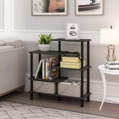 32.48 in. Espresso/Black Plastic 5-shelf Etagere Bookcase with Open Back