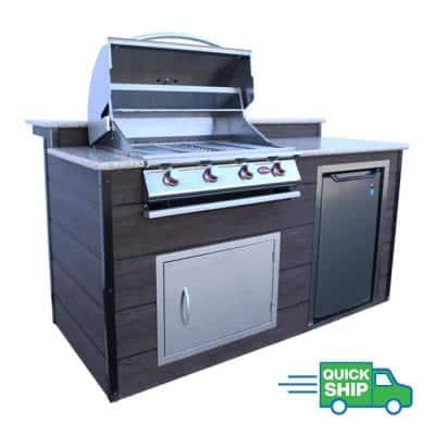 4-Burner 6 ft. Synthetic Wood and Granite BBQ Grill Island with Gas Grill