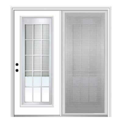 75 in. x 81.75 in. Primed Fiberglass Prehung Right Hand Internal Blinds Clear Glass 15-Lite Hinged Patio Door w/ Screen