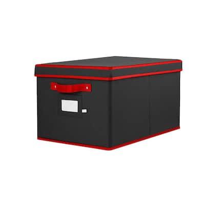 10 in.Black Polyester 600 Denier Oxford Christmas Light Storage Box(800-Light Bulbs)