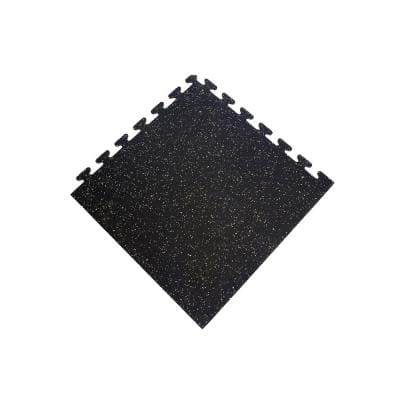 Black with Tan  24 in. x 24 in. Finished Corner Recycled Rubber Floor Tile (16 sq. ft. / case)