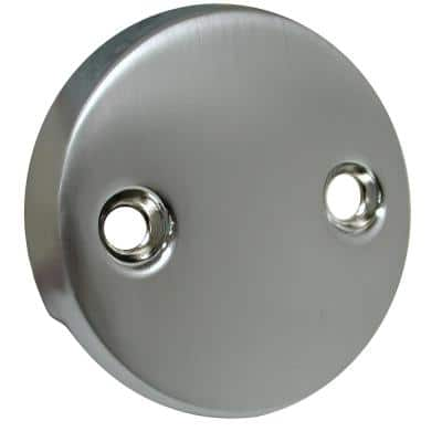 2-Hole Bathtub Overflow Faceplate Less Screws in Brushed Stainless