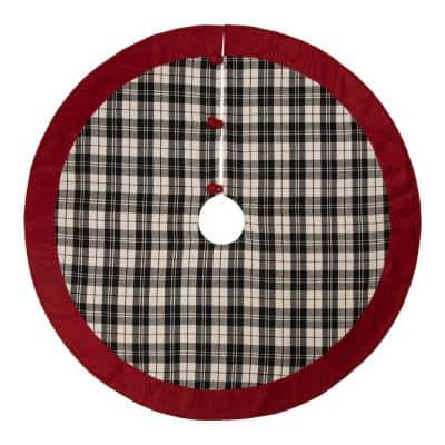48 in. D Black and White Plaid Fabric Christmas Tree Skirt with Red Trim
