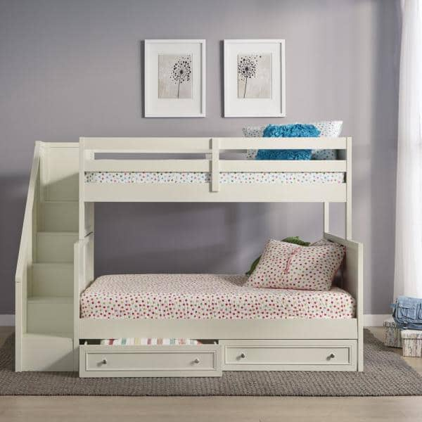 Homestyles Naples Off White Twin Over Full Bunk Bed With Steps And Lower Storage Drawers 5530 56d The Home Depot