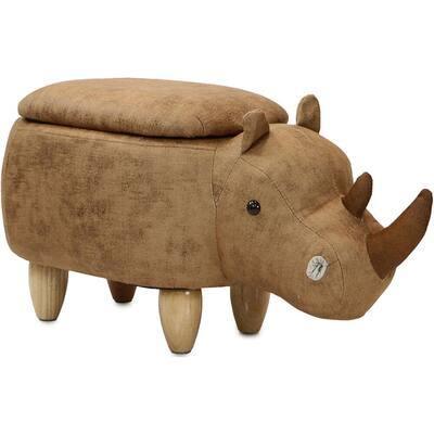 Brown Rhino Animal Shape Storage Ottoman
