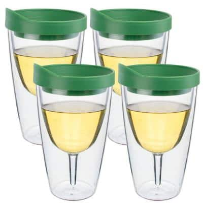 4-Piece Verde Green Double Wall Acrylic Insulated Wine Tumbler Set