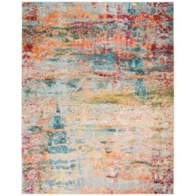 Monaco Teal/Orange 8 ft. x 10 ft. Area Rug