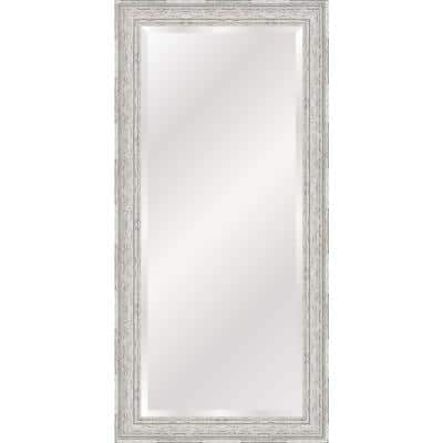 Oversized Antique White And Grey Plastic Beveled Glass Full-Length Farmhouse Mirror (65 in. H X 31 in. W)