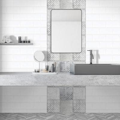 Pacifico 6 in. x 6 in. Grey Ceramic Decorative Wall Tile (4-pack)