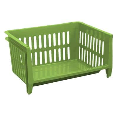 19 in. W x 14 in. D x 10 in. H Jumbo Storage Stacking Basket in Key Lime Green