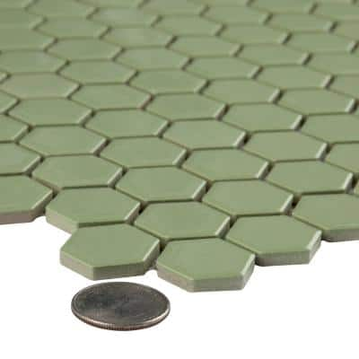 Metro Hex 1 in. Glossy Olive 11-7/8 in. x 10-1/4 in. Porcelain Mosaic Floor and Wall Tile (8.65 sq. ft./Case)