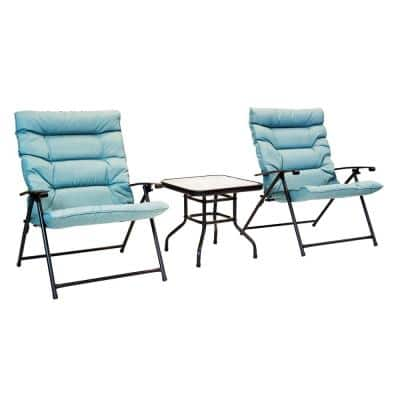 Black Frame 3-Piece Folding Steel Outdoor Bistro Set with Cushions Aqua Cushions