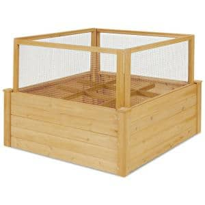 Natural Fir Wood Raised Bed with 9 Grids and Critter Guard Fence