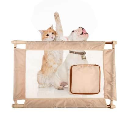 Khaki Porta-Gate Travel Collapsible and Adjustable Folding Pet Cat Dog Gate