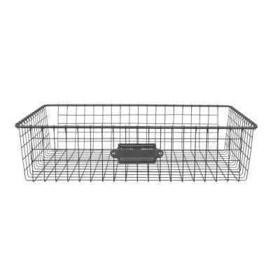 16 in. D x 12 in. W x 4 in. H Industrial Gray Vintage Steel Wire Storage Basket