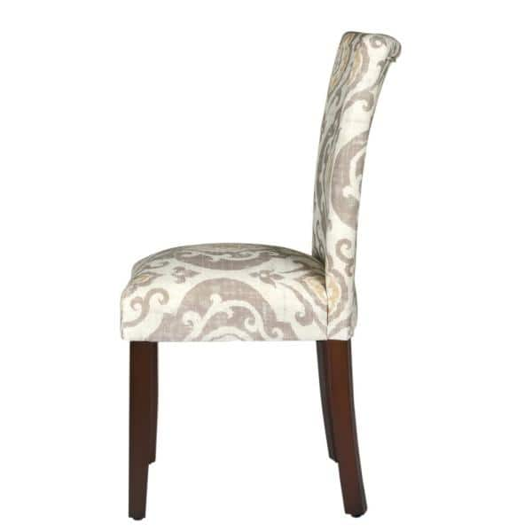 Homepop Parsons Suri Tan Taupe And Yellow Damask Upholstered Dining Chair Set Of 2 K6805 A793 The Home Depot