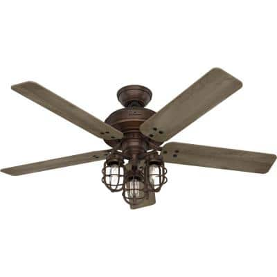 Port Isabel 52 in. Indoor/Outdoor Weathered Copper Ceiling Fan with Light Kit