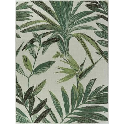 Palm White 8 ft. x 10 ft. Indoor/Outdoor Area Rug