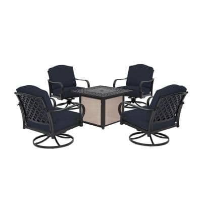 Laurel Oaks 5-Piece Brown Steel Outdoor Patio Fire Pit Seating Set with CushionGuard Midnight Navy Blue Cushions