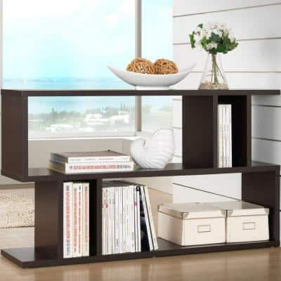 27.5 in. Dark Brown Wood 2-shelf Accent Bookcase with Open Back