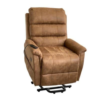Ultra Soft Saddle Brown Palomino Massage and Lift Chair with Lie Flat Recline and USB Port