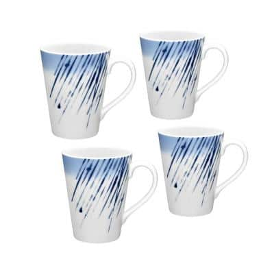 Hanabi Blue/White Porcelain Mugs (Set of 4) 12 oz.