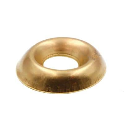 #12 Brass Plated Steel Countersunk Finishing Washers (100-Pack)
