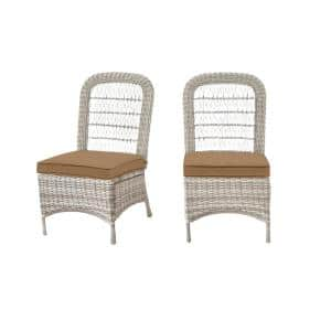 Beacon Park Gray Wicker Outdoor Patio Armless Dining Chair with CushionGuard Toffee Tan Cushions (2-Pack)