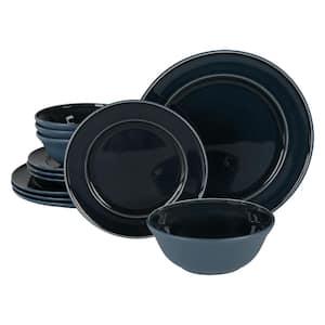 12-Piece Reactive Glaze Blue Ceramic Dinnerware Set (Service for 4)