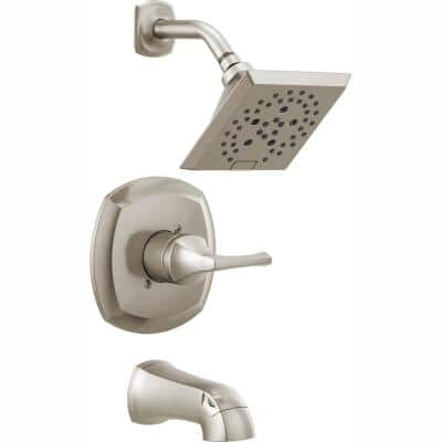 Portwood Single-Handle 5-Spray Tub and Shower Faucet with H2Okinetic in SpotShield Brushed Nickel (Valve Included)