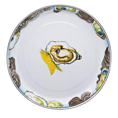 Oyster 13 in. White Enamelware Round Serving Tray