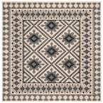 Veranda Ivory/Slate 3 ft. x 3 ft. Aztec Geometric Indoor/Outdoor Square Area Rug