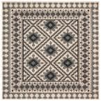 Veranda Ivory/Slate 8 ft. x 8 ft. Aztec Geometric Indoor/Outdoor Square Area Rug
